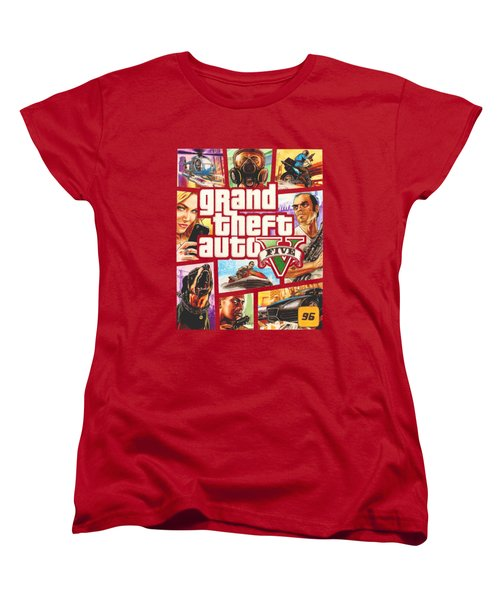 Gta V Box Art Cover Colored Drawing Women's T-Shirt (Standard Cut) by Nikolai Jonasson