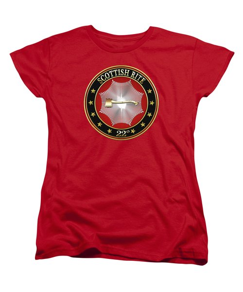 22nd Degree - Knight Of The Royal Axe Jewel On Red Leather Women's T-Shirt (Standard Cut) by Serge Averbukh