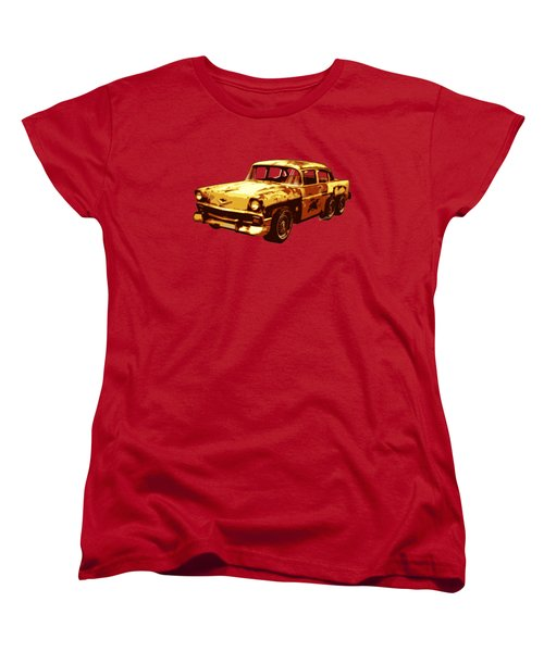 Roadrunner The Snake And The 56 Chevy Rat Rod Women's T-Shirt (Standard Cut) by Chas Sinklier