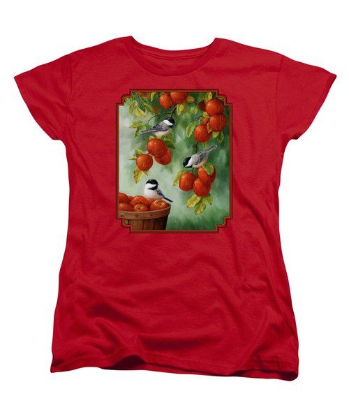 Bird Painting - Apple Harvest Chickadees Women's T-Shirt (Standard Cut) by Crista Forest