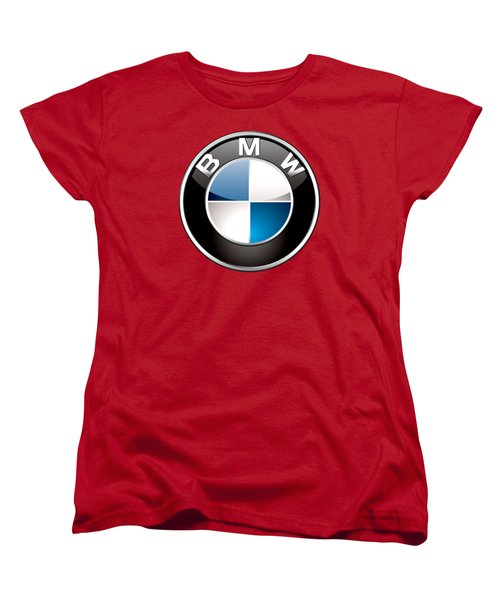 B M W Badge On Red  Women's T-Shirt (Standard Cut) by Serge Averbukh