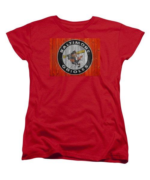 Baltimore Orioles Graphic Barn Door Women's T-Shirt (Standard Cut) by Dan Sproul