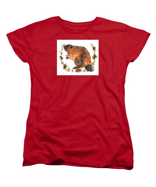 Beaver Painting Women's T-Shirt (Standard Cut) by Alison Fennell