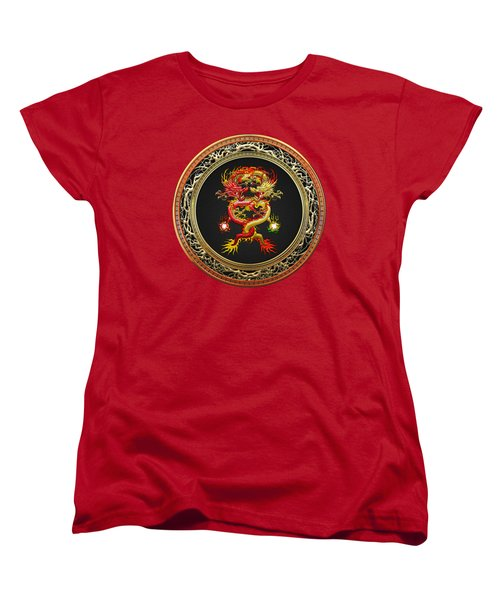 Brotherhood Of The Snake - The Red And The Yellow Dragons On Red Velvet Women's T-Shirt (Standard Cut) by Serge Averbukh