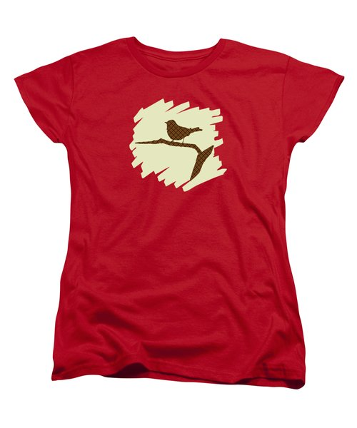 Brown Bird Silhouette Modern Bird Art Women's T-Shirt (Standard Cut) by Christina Rollo