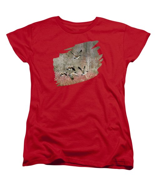 Canada Geese In Flight Women's T-Shirt (Standard Cut) by Christina Rollo