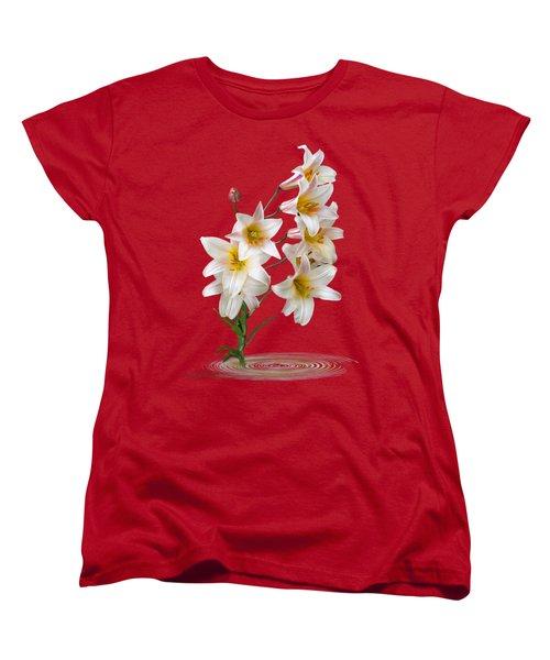 Cascade Of Lilies On Black Women's T-Shirt (Standard Cut) by Gill Billington