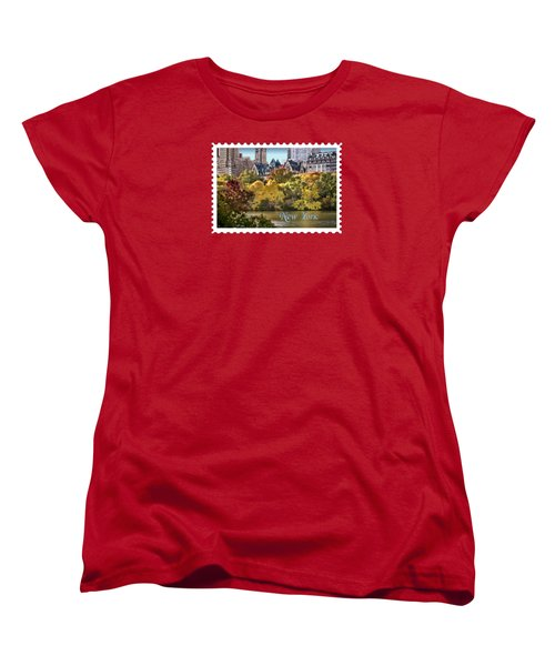 Central Park Lake In Fall Text New York Women's T-Shirt (Standard Cut) by Elaine Plesser