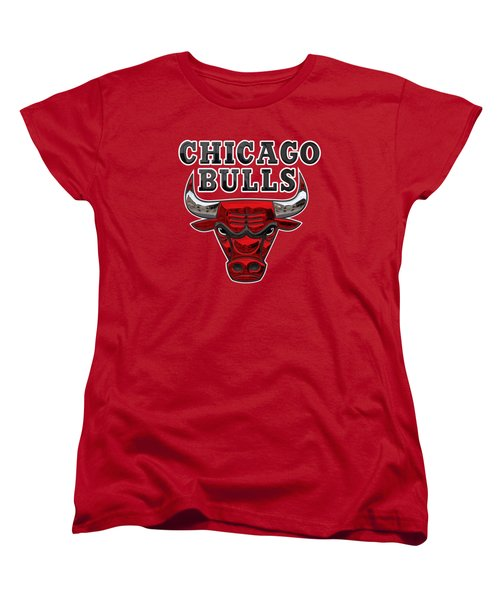 Chicago Bulls - 3 D Badge Over Flag Women's T-Shirt (Standard Cut) by Serge Averbukh