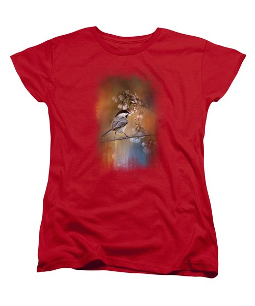 Chickadee In The Garden Women's T-Shirt (Standard Cut) by Jai Johnson