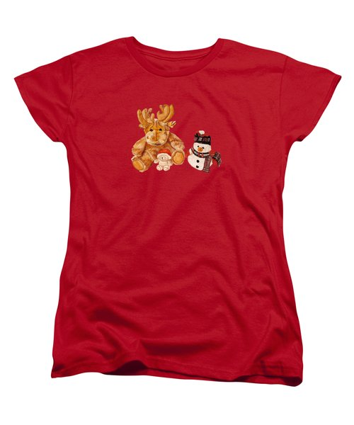 Christmas Buddies Women's T-Shirt (Standard Cut) by Angeles M Pomata