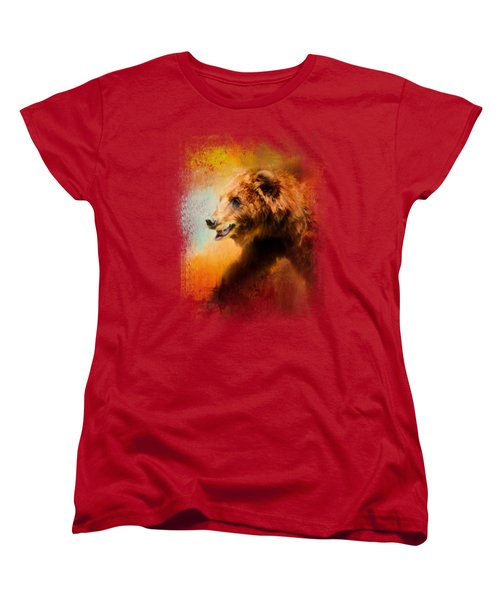 Colorful Expressions Grizzly Bear Women's T-Shirt (Standard Cut) by Jai Johnson