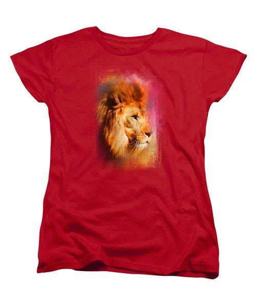Colorful Expressions Lion Women's T-Shirt (Standard Cut) by Jai Johnson