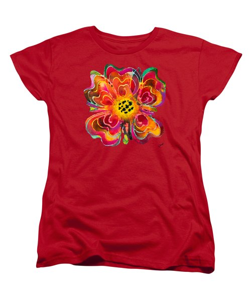Colorful Flower Art - Summer Love By Sharon Cummings Women's T-Shirt (Standard Cut) by Sharon Cummings