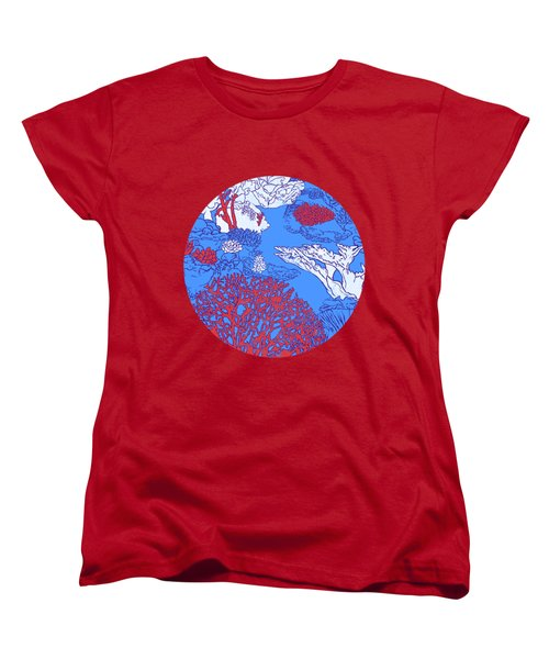 Coral Reef Women's T-Shirt (Standard Cut) by Evgenia Chuvardina