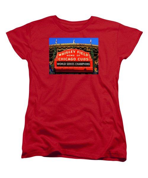 Cubs Win World Series Women's T-Shirt (Standard Cut) by Andrew Soundarajan