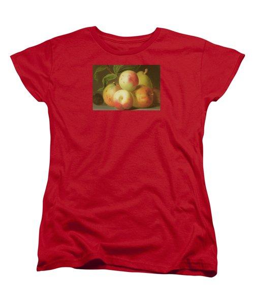 Detail Of Apples On A Shelf Women's T-Shirt (Standard Cut) by Jakob Bogdany