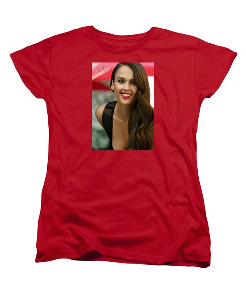 Digital Painting Of Jessica Alba Women's T-Shirt (Standard Cut) by Frohlich Regian