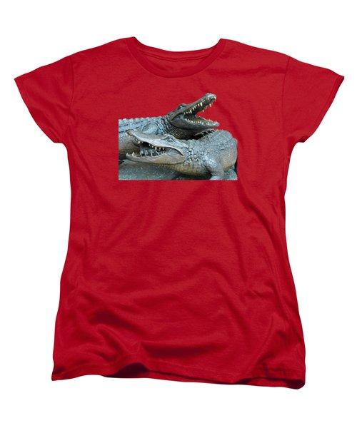 Dueling Gators Transparent For Customization Women's T-Shirt (Standard Cut) by D Hackett