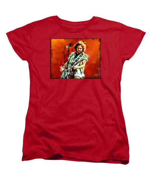 Eddie Vedder Painting Women's T-Shirt (Standard Cut) by Scott Wallace