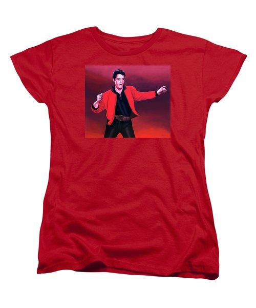 Elvis Presley 4 Painting Women's T-Shirt (Standard Cut) by Paul Meijering