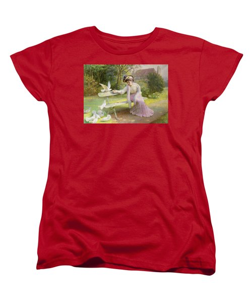 Feeding The Doves  Women's T-Shirt (Standard Cut) by Edmond Alphonse Defonte
