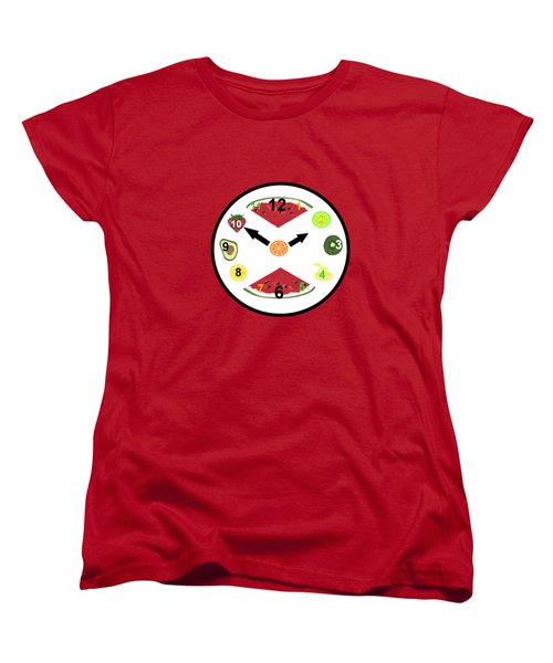 Food Clock Women's T-Shirt (Standard Cut) by Kathleen Sartoris