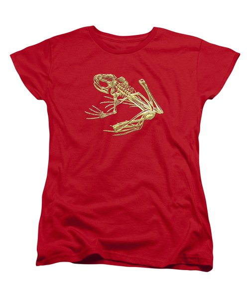 Frog Skeleton In Gold On Red  Women's T-Shirt (Standard Cut) by Serge Averbukh