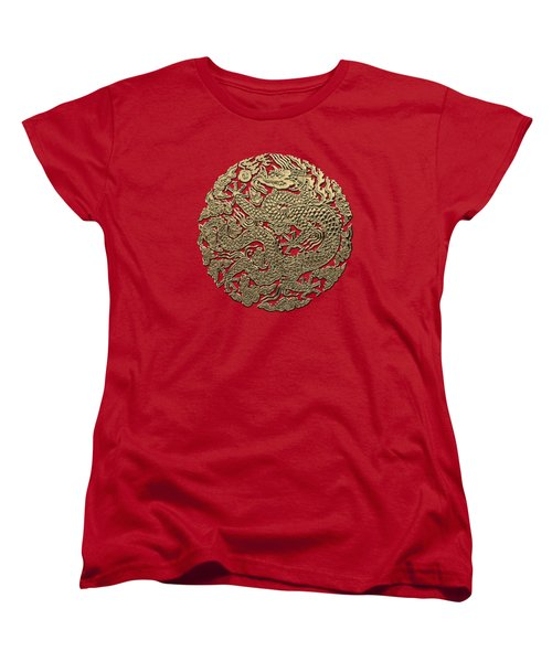 Golden Chinese Dragon On Red Leather Women's T-Shirt (Standard Cut) by Serge Averbukh