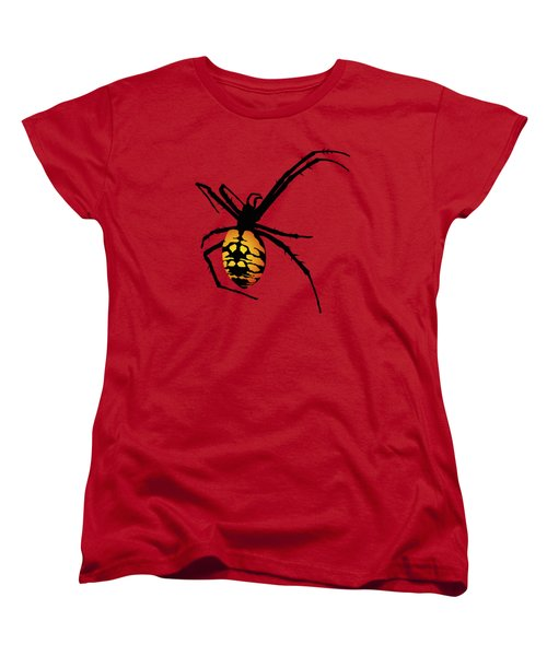 Graphic Spider Black And Yellow Orange Women's T-Shirt (Standard Cut) by MM Anderson