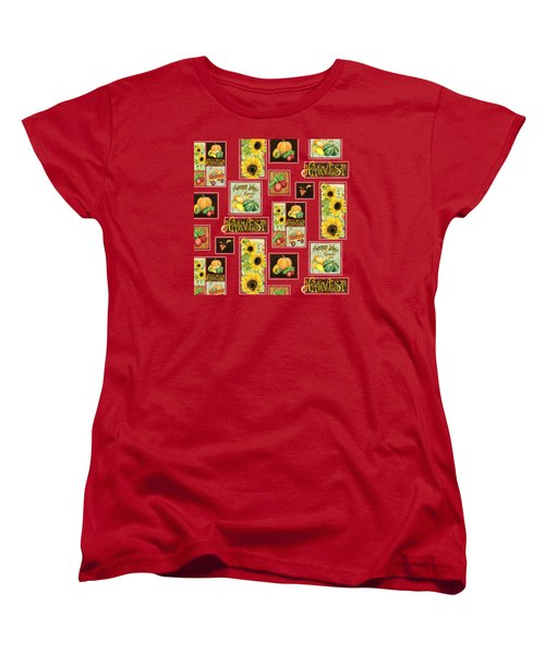 Harvest Market Pumpkins Sunflowers N Red Wagon Women's T-Shirt (Standard Cut) by Audrey Jeanne Roberts