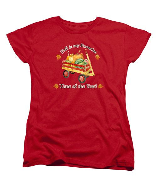 Harvest Red Wagon Pumpkins N Leaves Women's T-Shirt (Standard Cut) by Audrey Jeanne Roberts