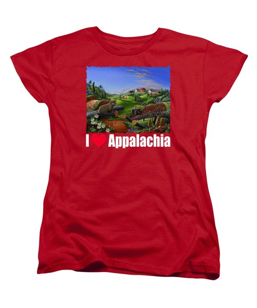 I Love Appalachia T Shirt - Spring Groundhog - Country Farm Landscape Women's T-Shirt (Standard Cut) by Walt Curlee
