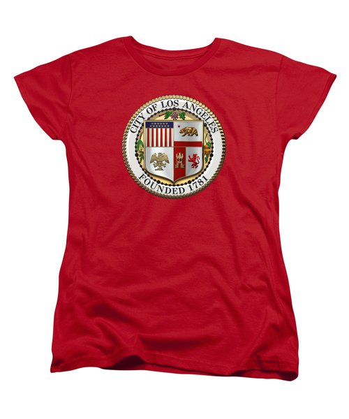 Los Angeles City Seal Over Red Velvet Women's T-Shirt (Standard Cut) by Serge Averbukh