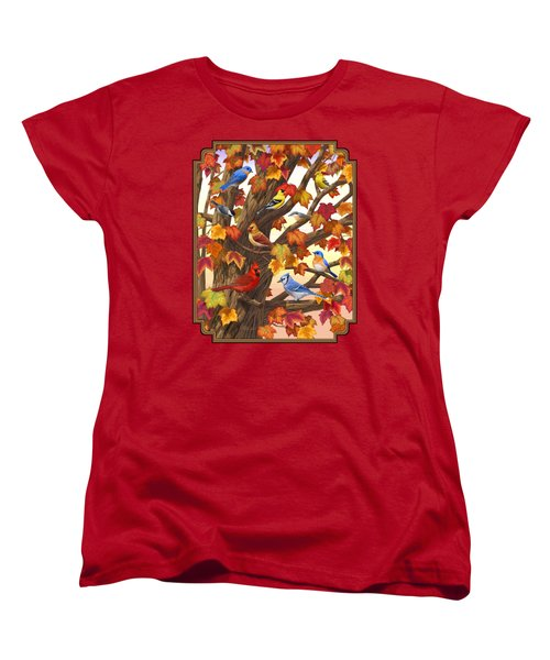 Maple Tree Marvel - Bird Painting Women's T-Shirt (Standard Cut) by Crista Forest