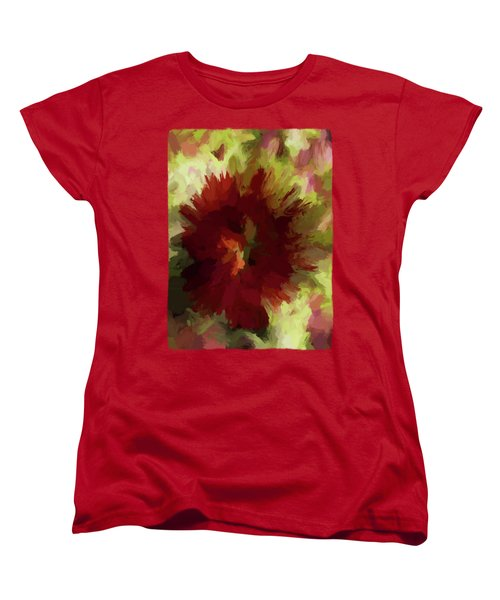 Maroon Flower 4 Women's T-Shirt (Standard Cut) by Jackie VanO