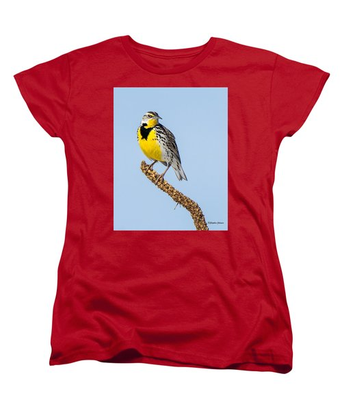 Meadowlark On Mullein Stalk Women's T-Shirt (Standard Cut) by Stephen Johnson