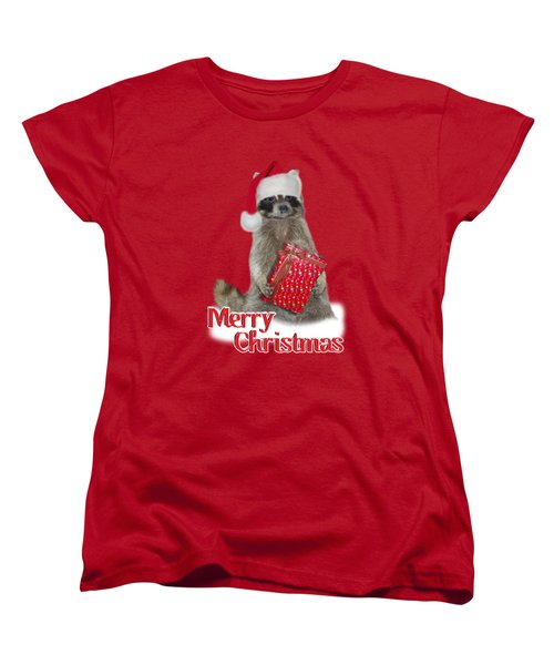 Merry Christmas -  Raccoon Women's T-Shirt (Standard Cut) by Gravityx9 Designs