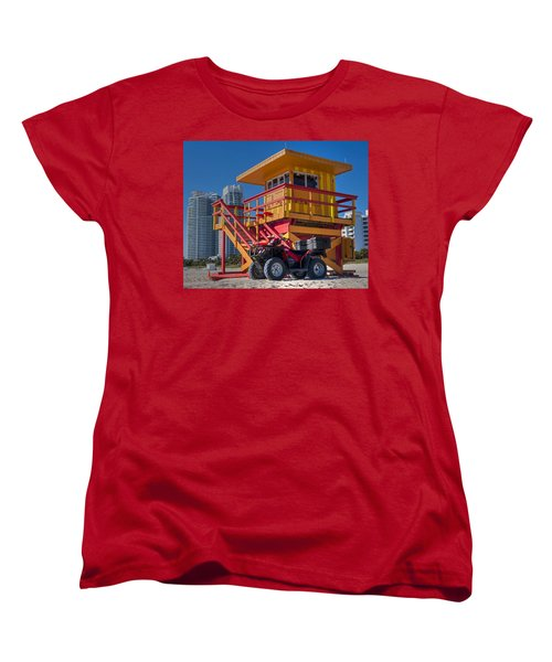 Miami Beach Lifeguard House Ocean Rescue Women's T-Shirt (Standard Cut) by Toby McGuire