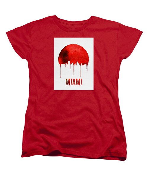 Miami Skyline Red Women's T-Shirt (Standard Cut) by Naxart Studio