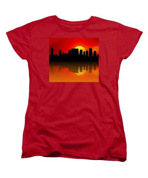 Nashville Skyline Sunset Reflection Women's T-Shirt (Standard Cut) by Dan Sproul