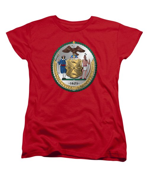 New York City Coat Of Arms - City Of New York Seal Over Red Velvet Women's T-Shirt (Standard Cut) by Serge Averbukh