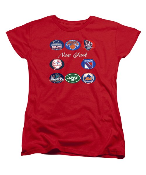 New York Professional Sport Teams Collage  Women's T-Shirt (Standard Cut) by Movie Poster Prints
