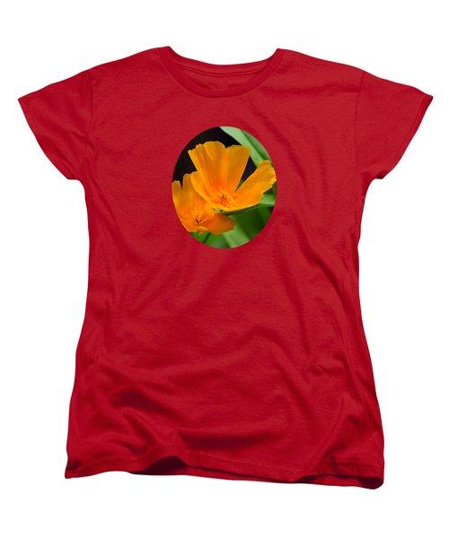 Orange California Poppies Women's T-Shirt (Standard Cut) by Christina Rollo