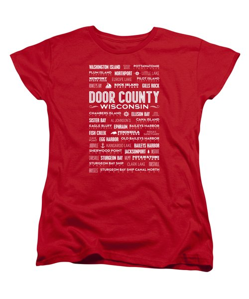 Places Of Door County On Red Women's T-Shirt (Standard Cut) by Christopher Arndt