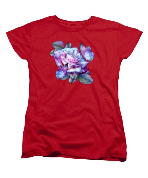 Purple Rose And Butterflies Women's T-Shirt (Standard Cut) by Carol Cavalaris
