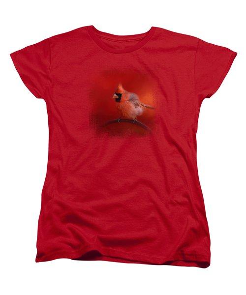 Radiant Red Bird Women's T-Shirt (Standard Cut) by Jai Johnson