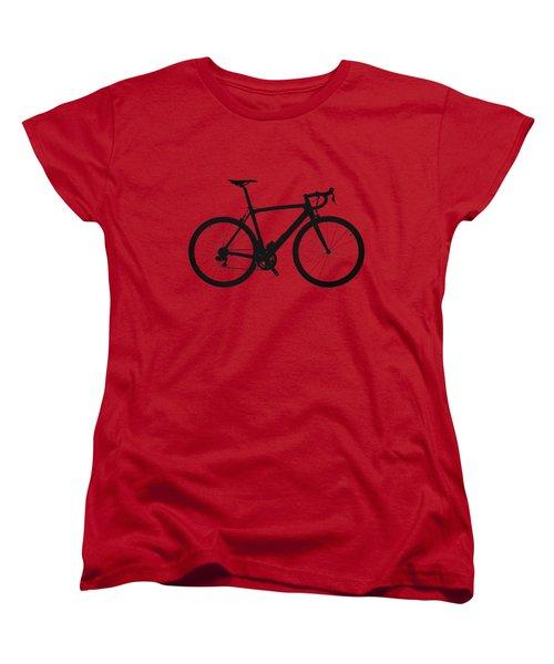 Road Bike Silhouette - Black On Red Canvas Women's T-Shirt (Standard Cut) by Serge Averbukh