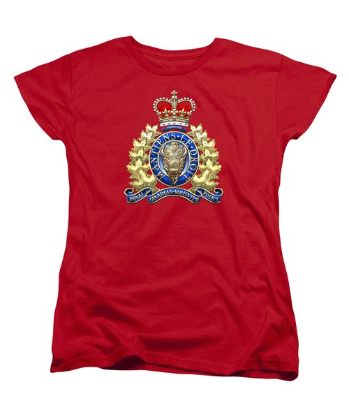 Royal Canadian Mounted Police - Rcmp Badge On Red Leather Women's T-Shirt (Standard Cut) by Serge Averbukh
