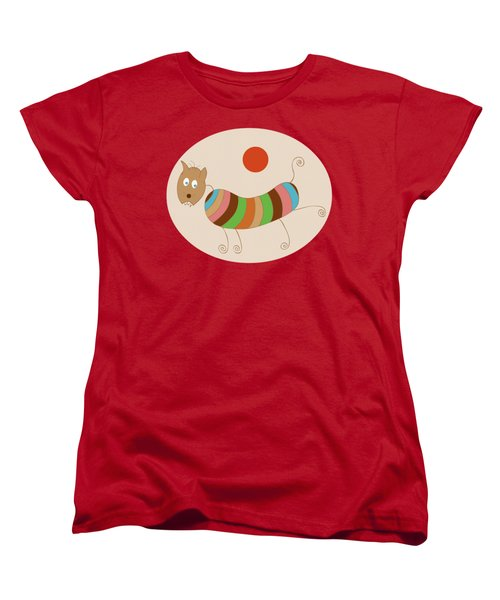 Sausage Dog In Ketchup Sunset Women's T-Shirt (Standard Cut) by Frank Tschakert
